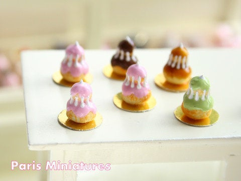 Religieuse à la Rose - Pink Religieuse French Pastry - Handmade Miniature Food