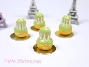 Pistachio Religieuse - French Pastry in 12th Scale - Handmade Dollhouse Miniature Food