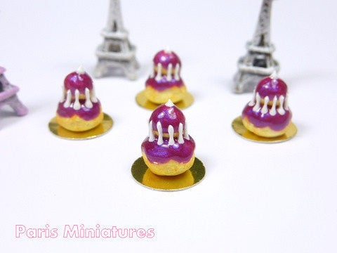 Blackberry Religieuse - French Pastry in 12th Scale