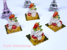 Load image into Gallery viewer, Strawberry St Honoré - French Pastry in 12th Scale - Handmade Dollhouse Miniature Food