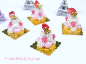 Raspberry St Honoré - French Pastry in 12th Scale - Handmade Dollhouse Miniature Food