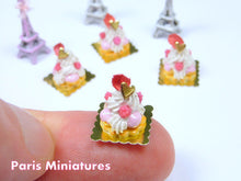 Load image into Gallery viewer, Raspberry St Honoré - French Pastry in 12th Scale - Handmade Dollhouse Miniature Food