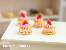 Load image into Gallery viewer, French Sablé Chantilly Fraises - Strawberry and Cream Shortbreads Miniature Food