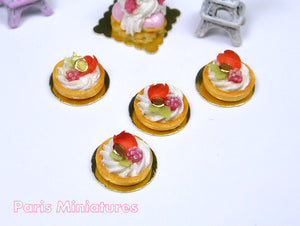 Raspberry and Mascarpone Cream Tartlets Decorated with Rose Petal - Miniature Food