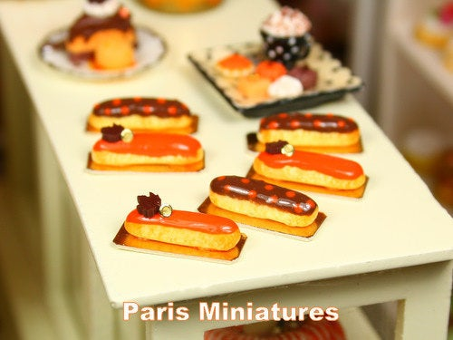 Pair of Autumnal  / Fall French Eclairs - 12th Scale Miniature Food