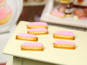 Pink Eclair - French Pastry in 12th Scale - Handmade Dollhouse Miniature Food