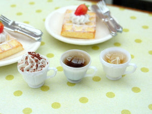 Three Filled Cups with Saucers - Coffee, Creamy Cappuccino, Lemon Tea - Miniature Food in 12th Scale