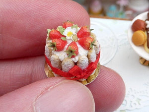 French Strawberry Charlotte - Miniature Food in 12th Scale