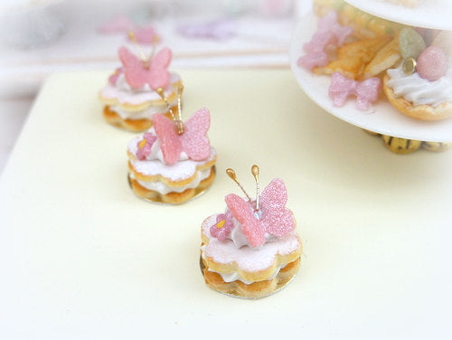 Pink Butterfly Cream-Filled French Sablé - 12th Scale Miniature Food