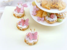 Load image into Gallery viewer, Pink Butterfly Cream-Filled French Sablé - 12th Scale Miniature Food