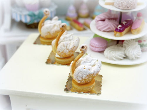 French Cream-Filled Pastry Swan in 12th Scale - Handmade Dollhouse Miniature Food