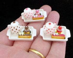 Tea Tray Set with French Pastries - Strawberry - 12th Scale Miniature Food