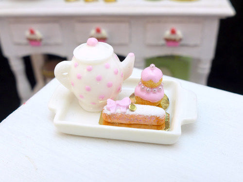 Tea Tray Set with French Pastries - Rose - 12th Scale Miniature Food