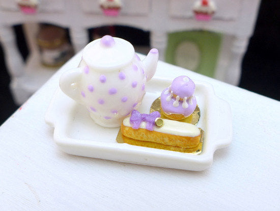 Tea Tray Set with French Pastries - Violet - 12th Scale Miniature Food