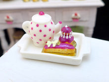Load image into Gallery viewer, Tea Tray Set with French Pastries - Blackberry - 12th Scale Miniature Food