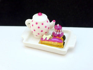 Tea Tray Set with French Pastries - Blackberry - 12th Scale Miniature Food