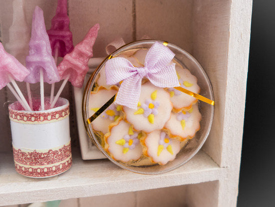 Lilac Floral Cookies Gift Box - Miniature Food in 12th Scale