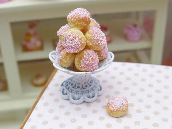 Pink Choux Bun Display - Shabby Chic Stand - 12th Scale Miniature Food