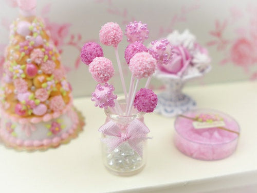 Pink Cake Pops in Glass Presentation Jar - Handmade Miniature Food in 12th Scale