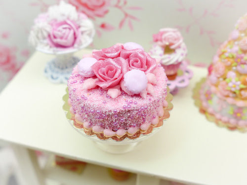 Pink Rose and Macaroon Cake - 12th Scale Miniature Food