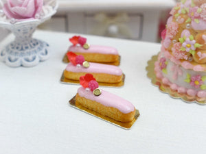 Pink Ispahan Eclair - Miniature Food French Pastry in 12th Scale