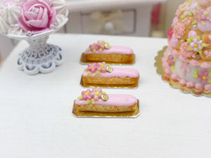 Pink Flower Eclair - Miniature French Pastry in 12th Scale