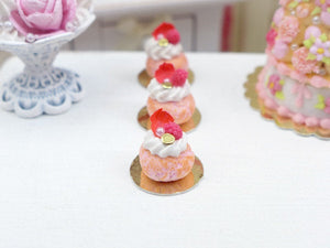 Pink Ispahan Baba - Miniature Food French Pastry in 12th Scale