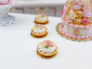 Pink Flower Chantilly Cream Tartlet - Miniature French Pastry in 12th Scale