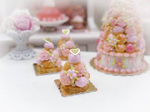Baby Pink Croquembouche - Miniature French Pastry