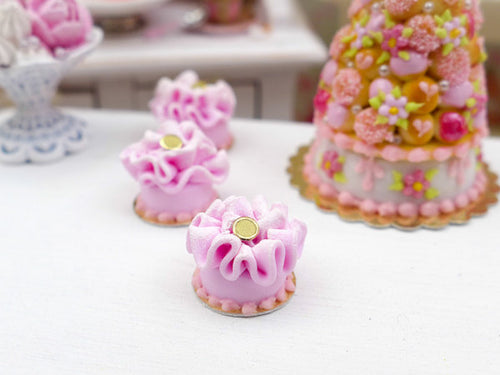 Pink Baby Ruffle Cake - Miniature French Pastry in 12th Scale
