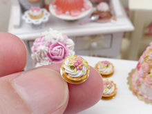 Load image into Gallery viewer, Pink Flower Chantilly Cream Tartlet - Miniature French Pastry in 12th Scale