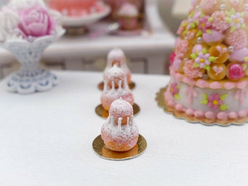 Pink 'Biscuit de Reims' Religieuse - Miniature French Pastry in 12th Scale