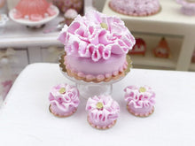Load image into Gallery viewer, Pink Baby Ruffle Cake - Miniature French Pastry in 12th Scale