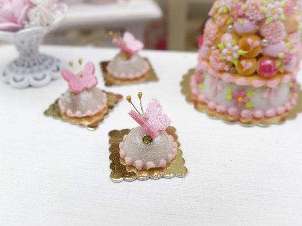 Pink Butterfly Dome Cake - Miniature French Pastry in 12th Scale