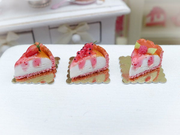 Pink Cheesecake Slice - Choice of 3 Flavours - Miniature French Pastry in 12th Scale