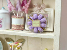 Load image into Gallery viewer, Pretty Box of Violet Parisian Macaroons - Handmade Miniature Food in 12th Scale