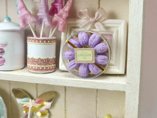 Pretty Box of Violet Parisian Macaroons - Handmade Miniature Food in 12th Scale