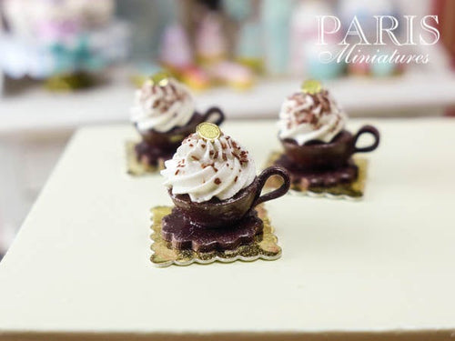 Chocolate Tea Cup Dessert with Cream Topping - French Pastry - Handmade Miniature Food