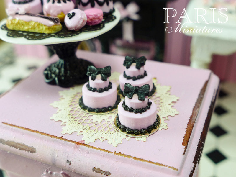 Miniature Pink and Black Bow Cake - French Pastry Miniature Food