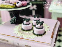 Load image into Gallery viewer, Miniature Pink and Black Bow Cake - French Pastry Miniature Food