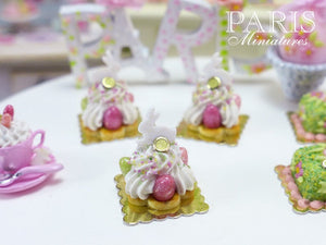 Easter St Honoré Pastry with White Rabbit and Candy Eggs - 12th Scale Miniature