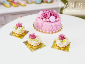 Pink Rose Cream-Filled Flower-Shaped French Sablé Cookie - 12th Scale Miniature Food