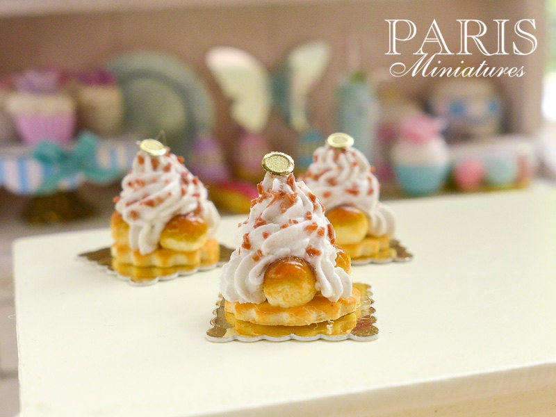 Caramel St Honoré - French Pastries - 12th Scale Miniature Food