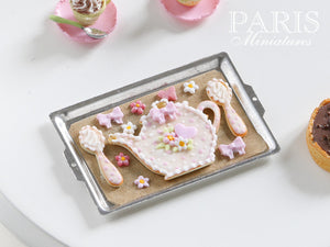 Teatime Cookies on Baking Sheet (Teapot, Spoons) - Miniature Food
