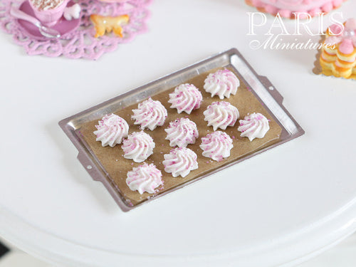 Baking Tray of Meringues with Pink Sprinkles - Miniature Food
