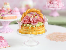 Load image into Gallery viewer, Pink Roses Basket Cake - Handmade Miniature Food