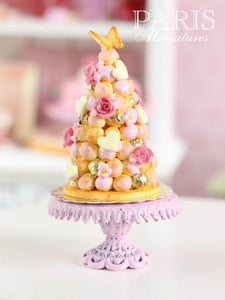 Pink Croquembouche - White Chocolate French Wedding Cake - Miniature Food in 12th Scale
