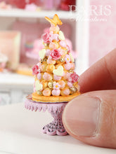 Load image into Gallery viewer, Pink Croquembouche - White Chocolate French Wedding Cake - Miniature Food in 12th Scale