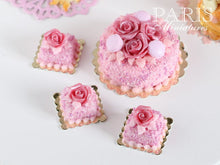 Load image into Gallery viewer, Pink Rose Pastry (Square) - 12th Scale Miniature Food