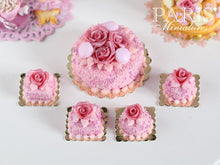 Load image into Gallery viewer, Pink Rose Genoise Pastry (Round) - 12th Scale Miniature Food